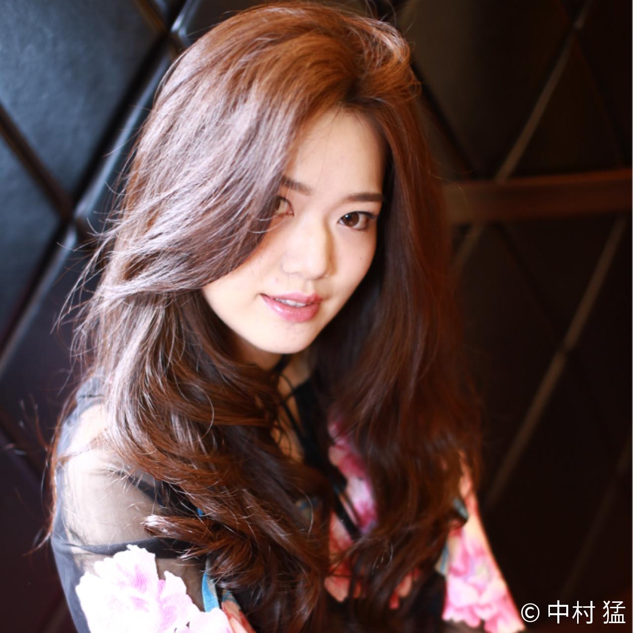 ロング 巻き髪 ピンク ナチュラル ヘアスタイルや髪型の写真・画像