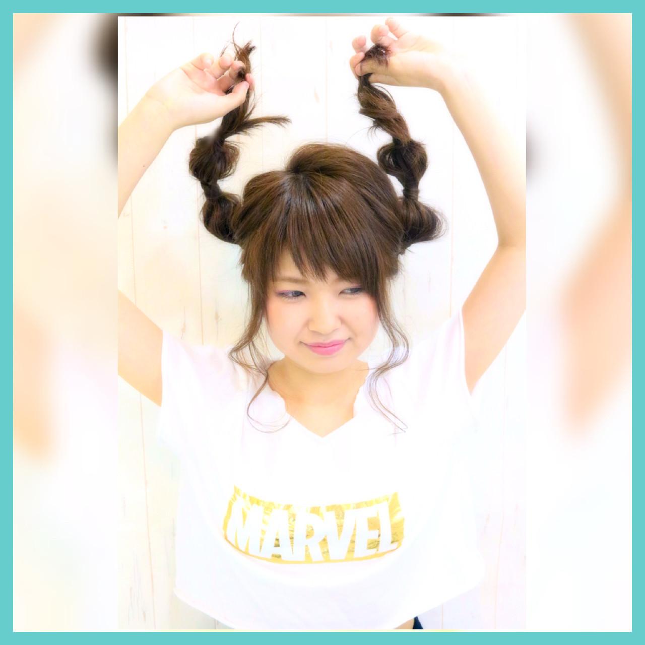 ショート セミロング ブラウン ガーリー ヘアスタイルや髪型の写真・画像