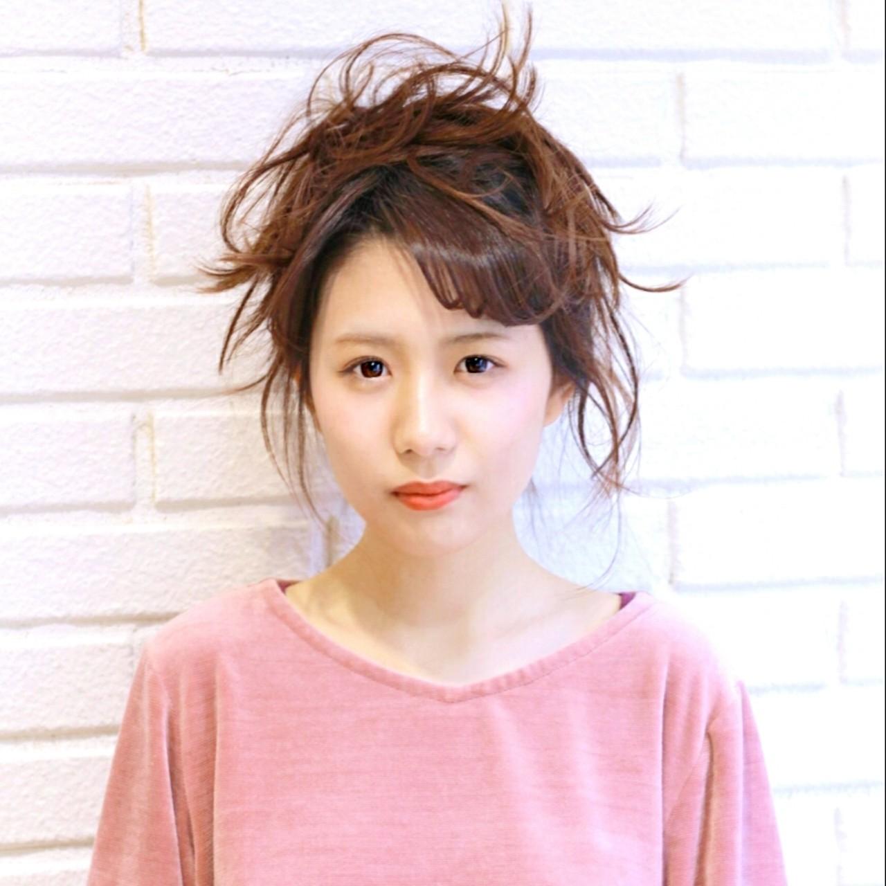 小顔 ミルクティー 簡単ヘアアレンジ ニュアンス ヘアスタイルや髪型の写真・画像