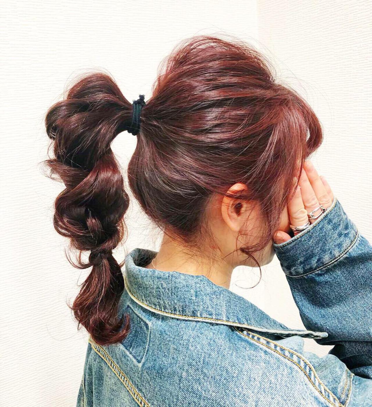ポニーテールアレンジ 簡単ヘアアレンジ ヘアアレンジ セルフヘアアレンジ ヘアスタイルや髪型の写真・画像   Rina / HairxCafe KUMA