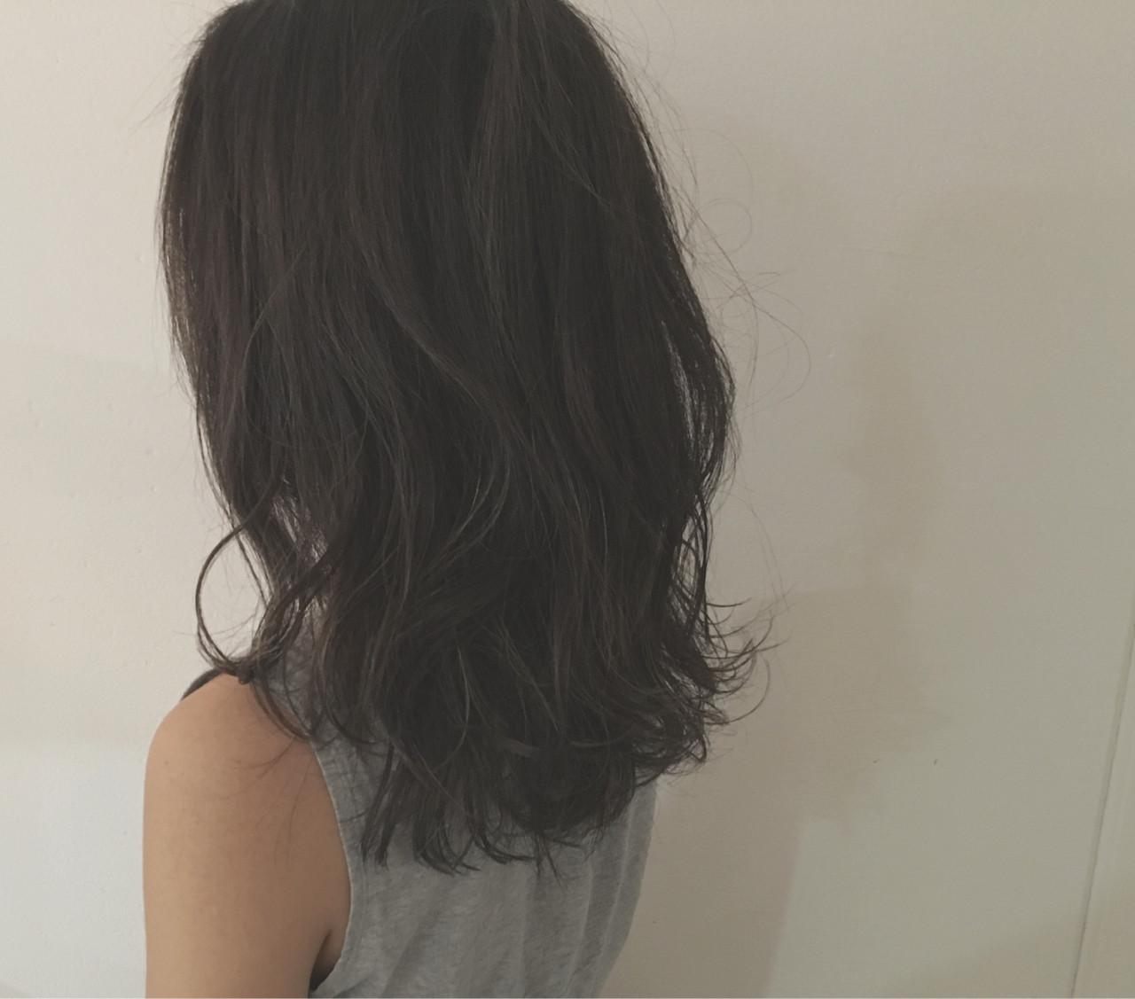 暗髪 グレージュ ストリート セミロング ヘアスタイルや髪型の写真・画像 | 杉谷 将也 / DiLL / DiLL