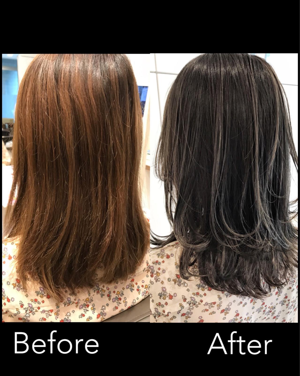 エフォートレス 外国人風 ミディアム ハイライト ヘアスタイルや髪型の写真・画像 | 長谷川 龍太 / hair design tea