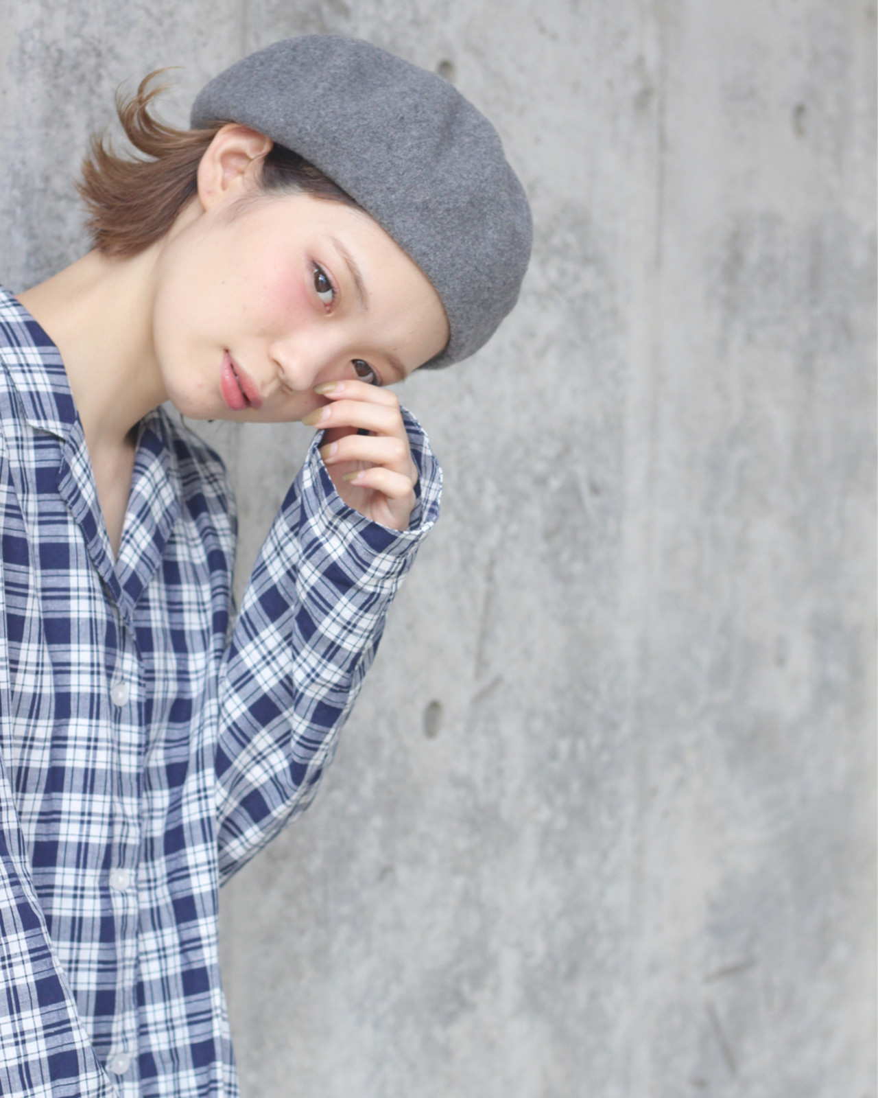 ベレー帽 外ハネ 秋 簡単ヘアアレンジ ヘアスタイルや髪型の写真・画像