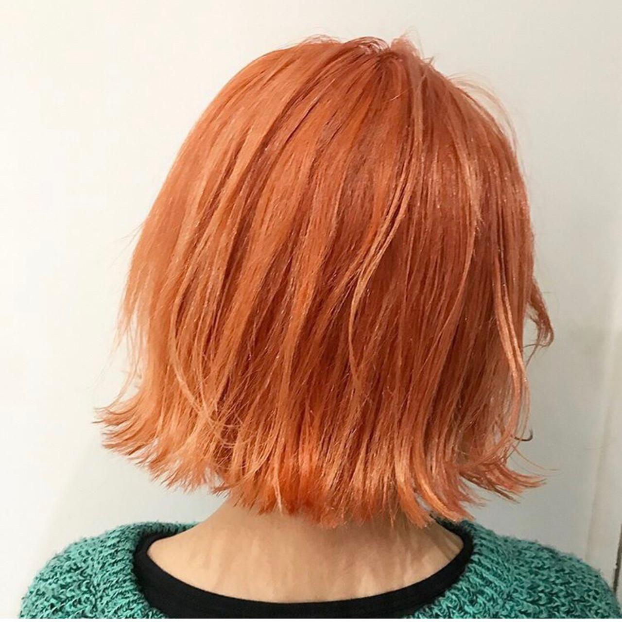 ボブ モード ハイライト オレンジカラー ヘアスタイルや髪型の写真・画像