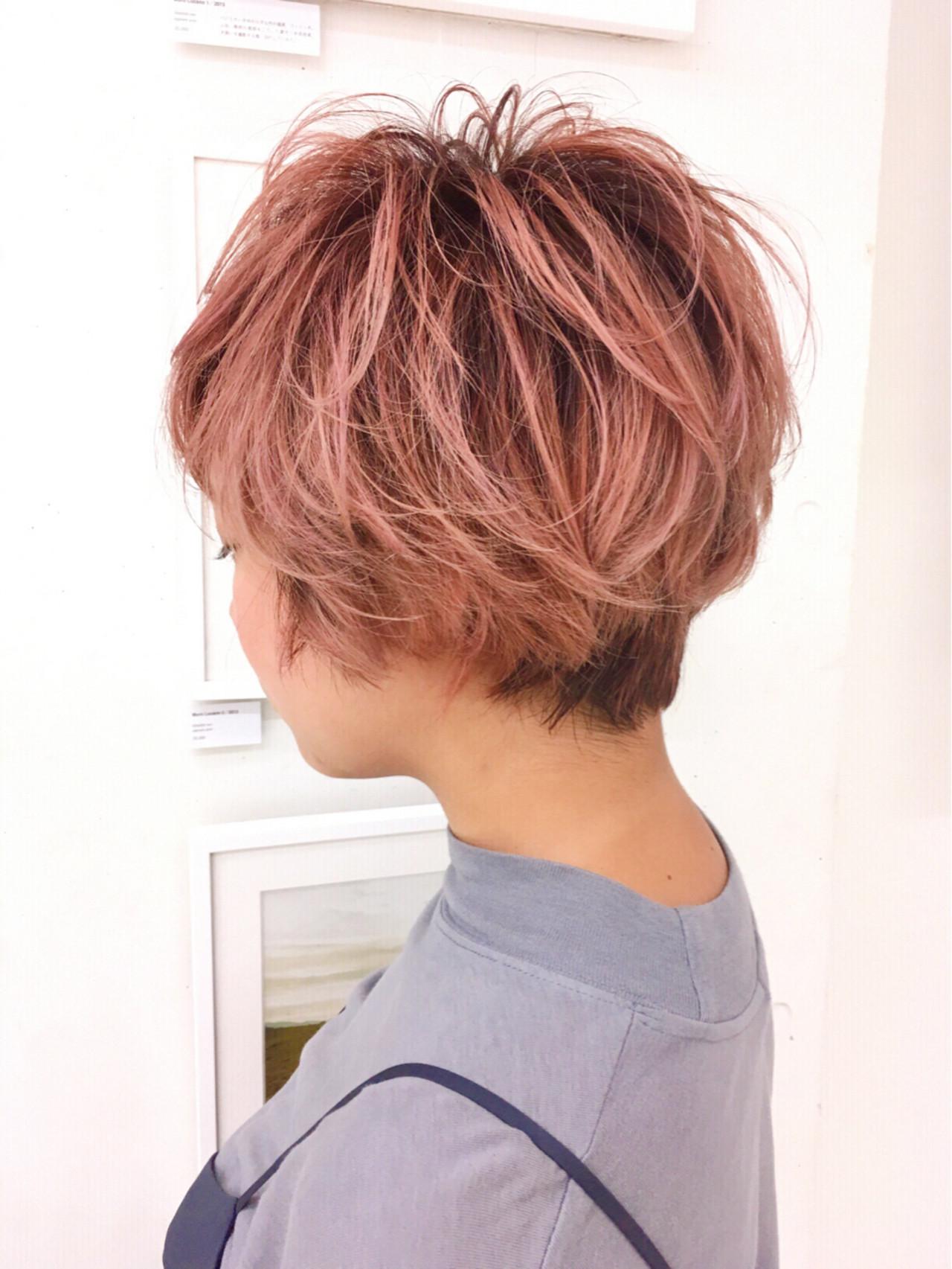ショート ピンク ガーリー 外国人風 ヘアスタイルや髪型の写真・画像 | イシガキ ダイスケ / C-LOVe 中目黒