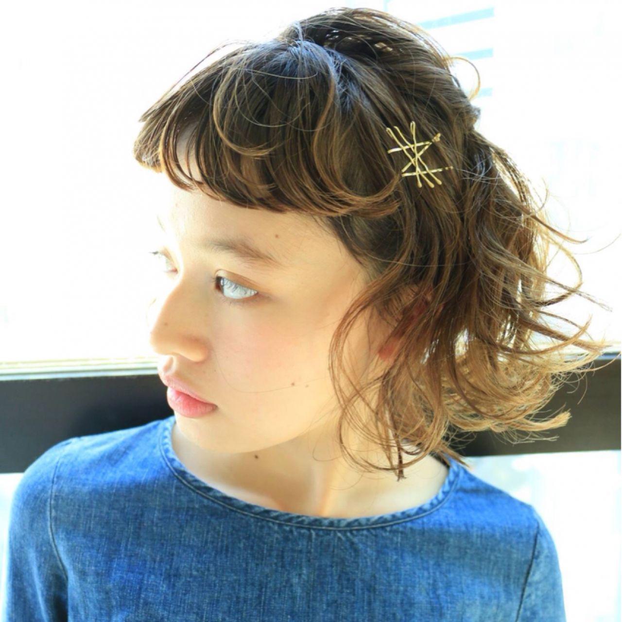 ナチュラル ショート 簡単ヘアアレンジ ウェットヘア ヘアスタイルや髪型の写真・画像