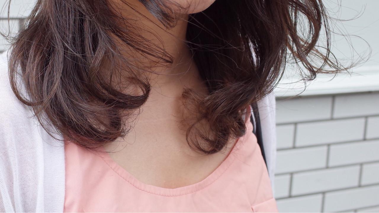 フェミニン ナチュラル ワンカール パーマ ヘアスタイルや髪型の写真・画像
