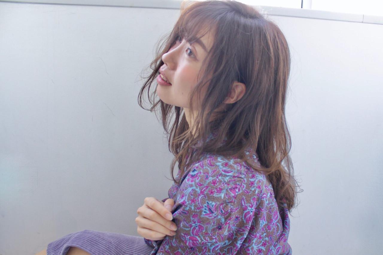 アラサー デート セミロング 女子会 ヘアスタイルや髪型の写真・画像
