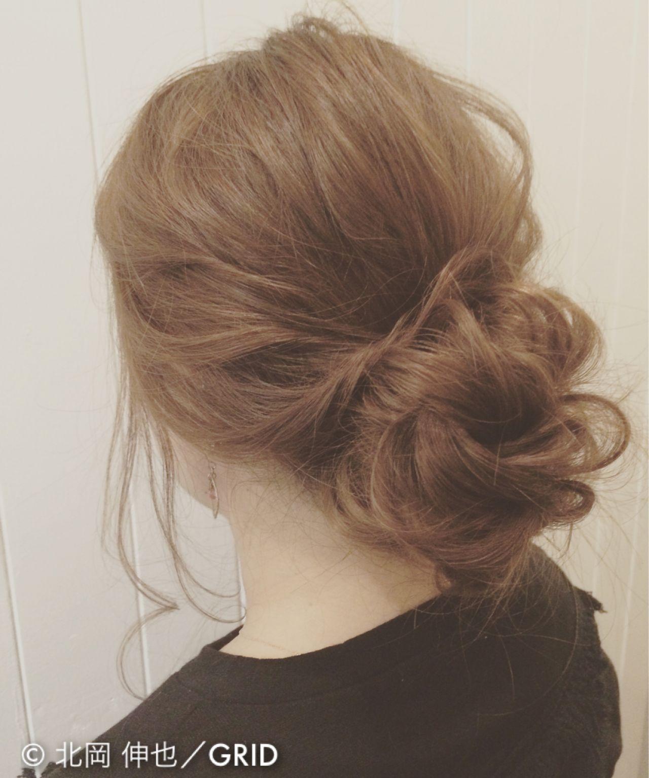 大人かわいい ヘアアレンジ ミディアム パーティ ヘアスタイルや髪型の写真・画像   北岡 伸也/GRID / GRID