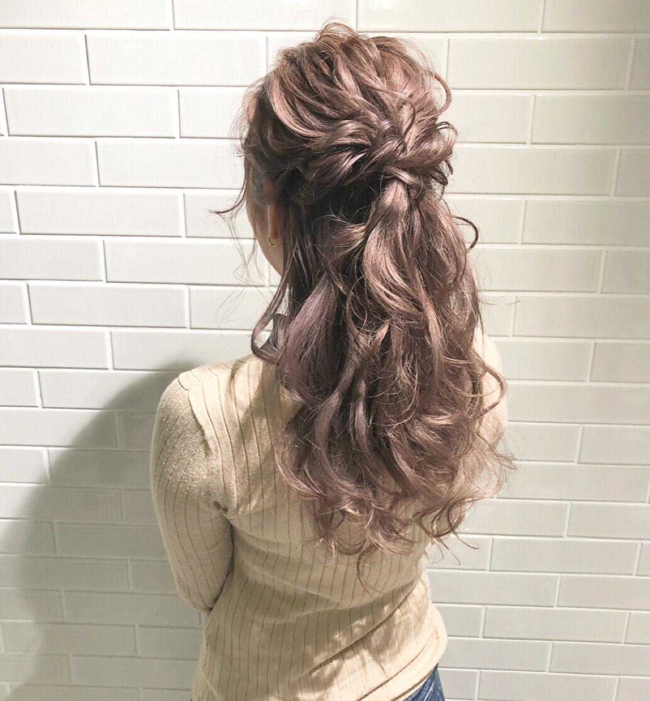 簡単ヘアアレンジ ロング 大人かわいい ハーフアップ ヘアスタイルや髪型の写真・画像