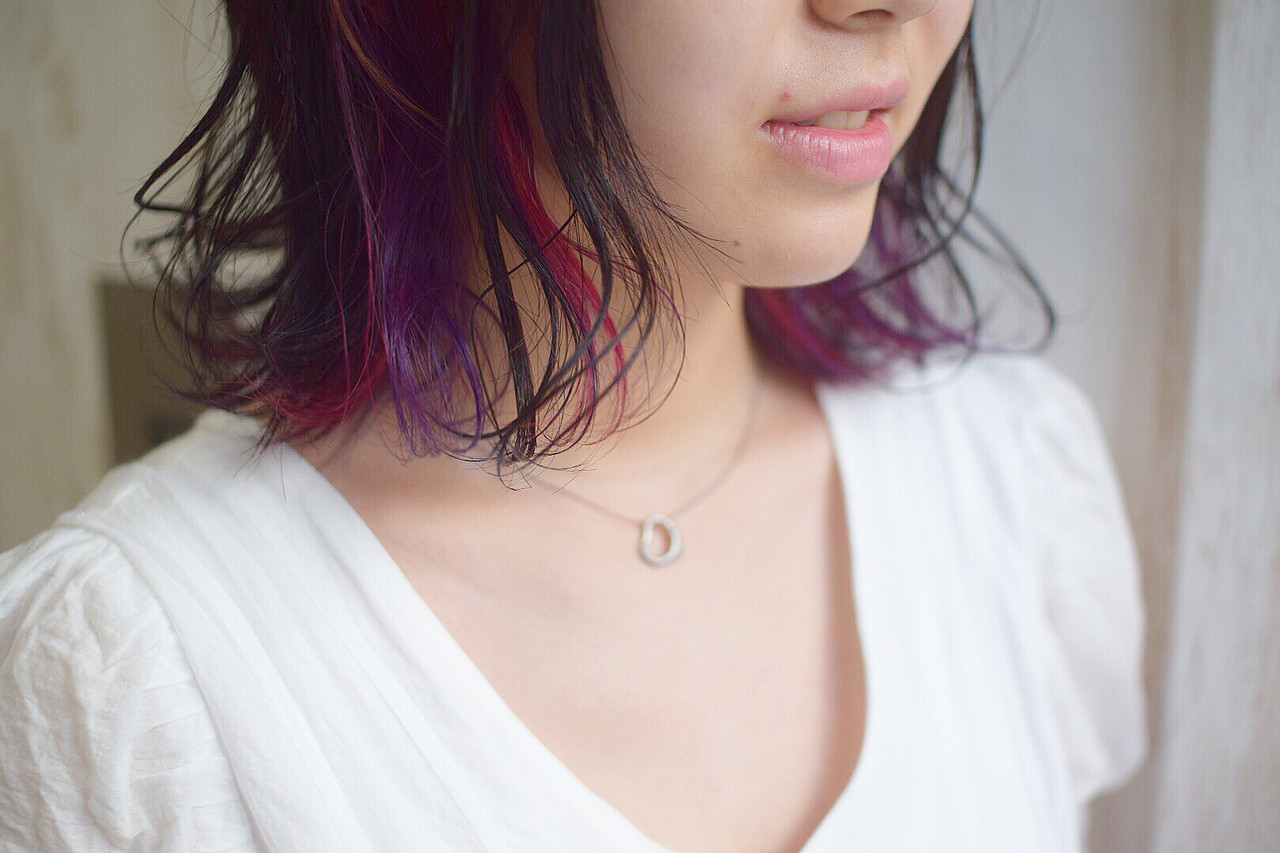 ピンク ピンクバイオレット インナーカラーパープル ボブ ヘアスタイルや髪型の写真・画像