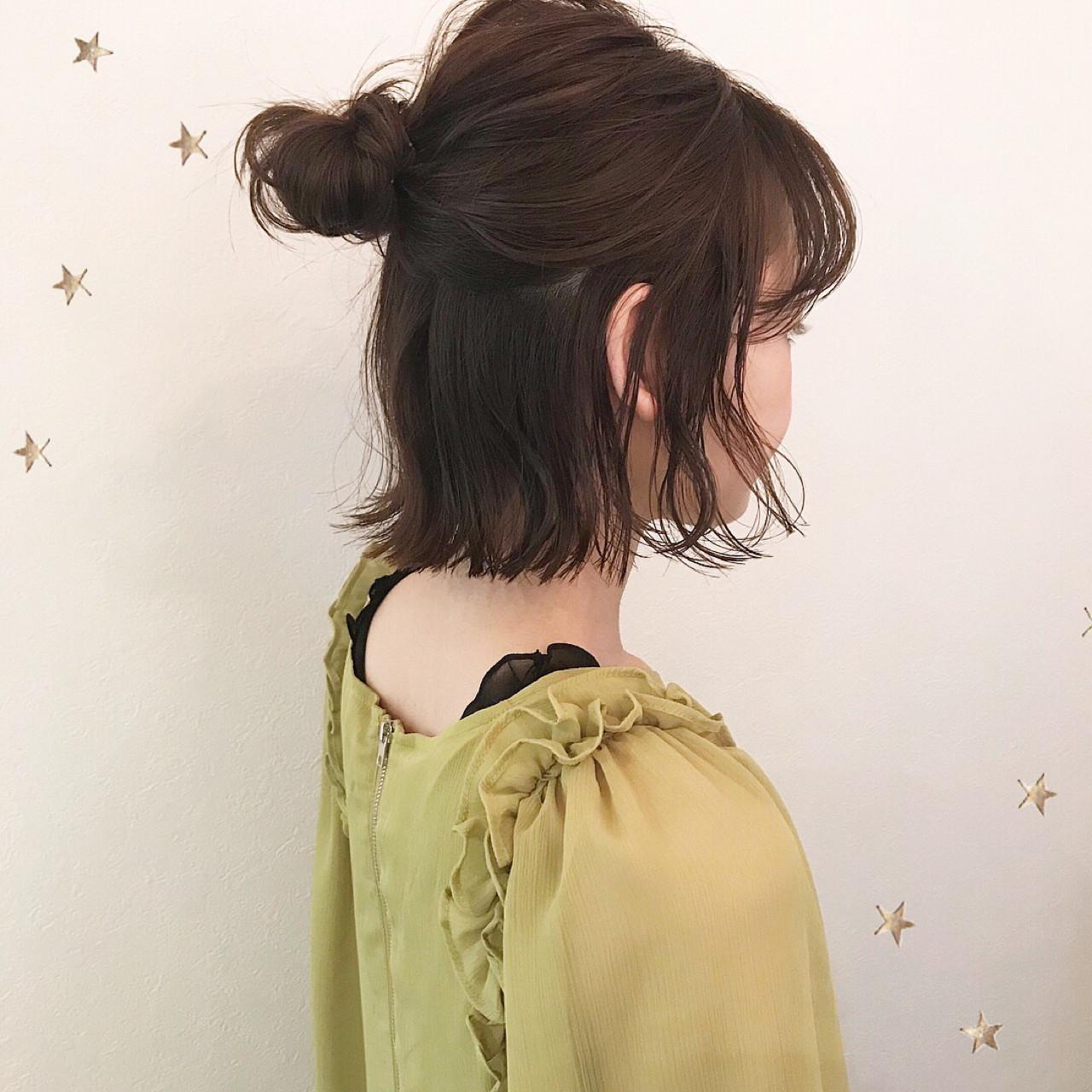 お団子 ナチュラル ヘアアレンジ ハーフアップ ヘアスタイルや髪型の写真・画像