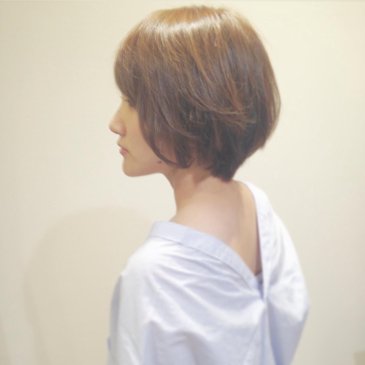 斜め前髪 ショート ナチュラル こなれ感 ヘアスタイルや髪型の写真・画像 | KOJI / ケート ke-to.beautyhair