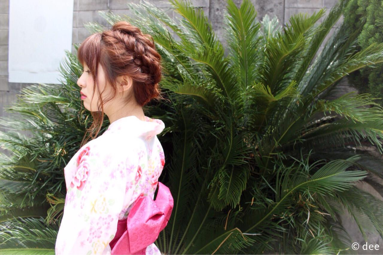 ヘアアレンジ 波ウェーブ 夏 セミロング ヘアスタイルや髪型の写真・画像