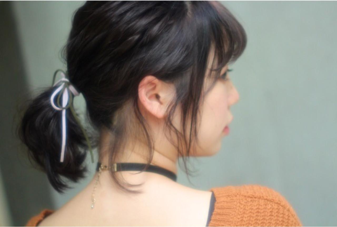 黒髪 ショート 簡単ヘアアレンジ ヘアアレンジ ヘアスタイルや髪型の写真・画像