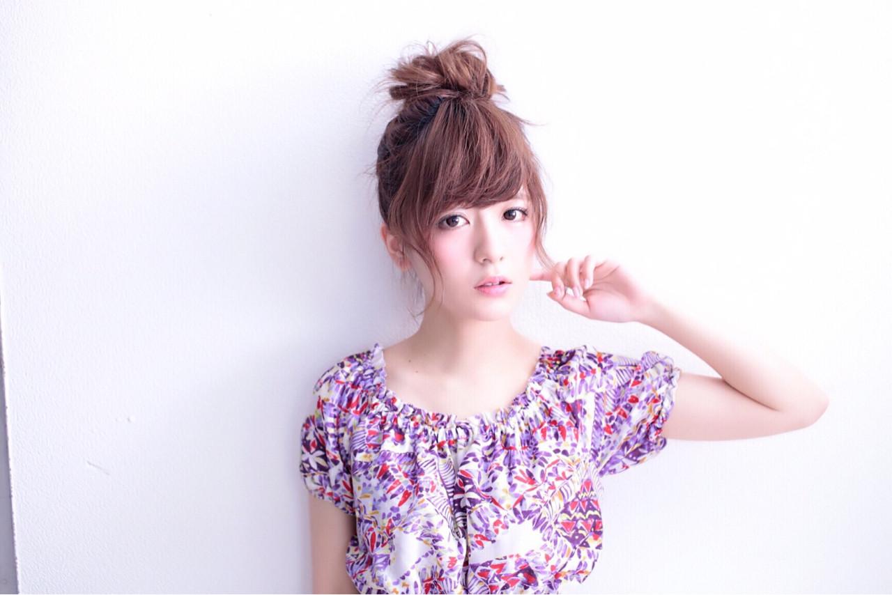 大人女子 セミロング ガーリー 簡単ヘアアレンジ ヘアスタイルや髪型の写真・画像