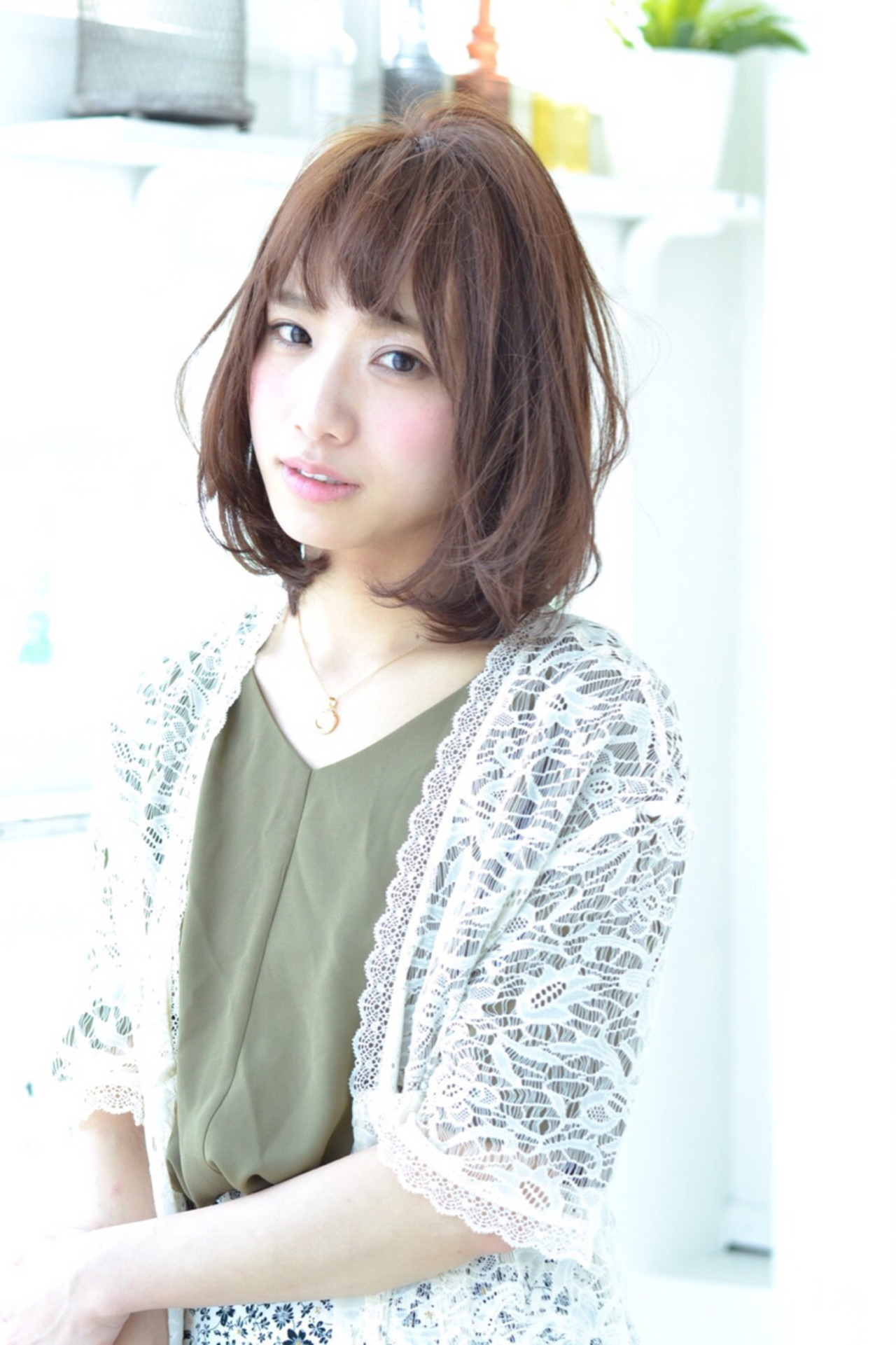 大人かわいい 外国人風 前髪あり ブラウン ヘアスタイルや髪型の写真・画像