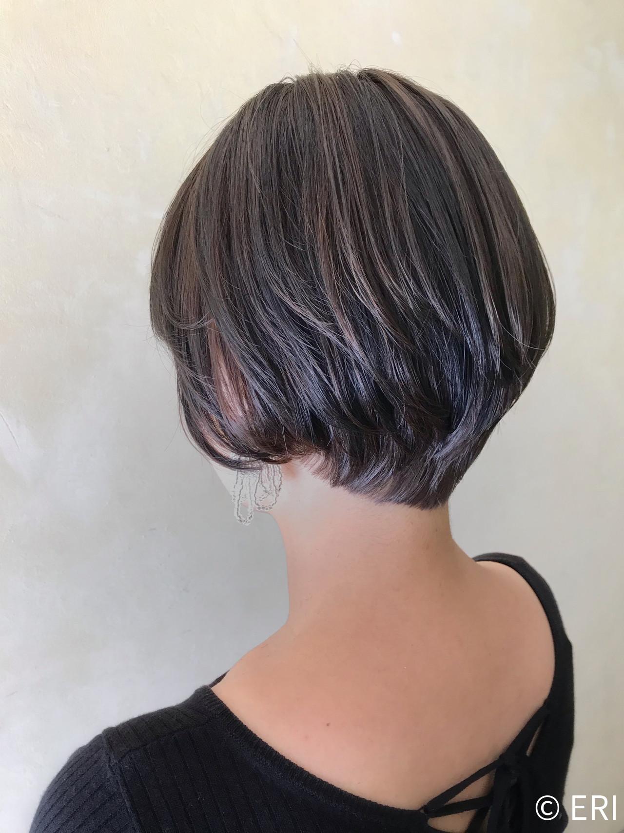 小顔ショート 丸みショート ショートボブ エレガント ヘアスタイルや髪型の写真・画像 | ERI / IN SIDE OUT+