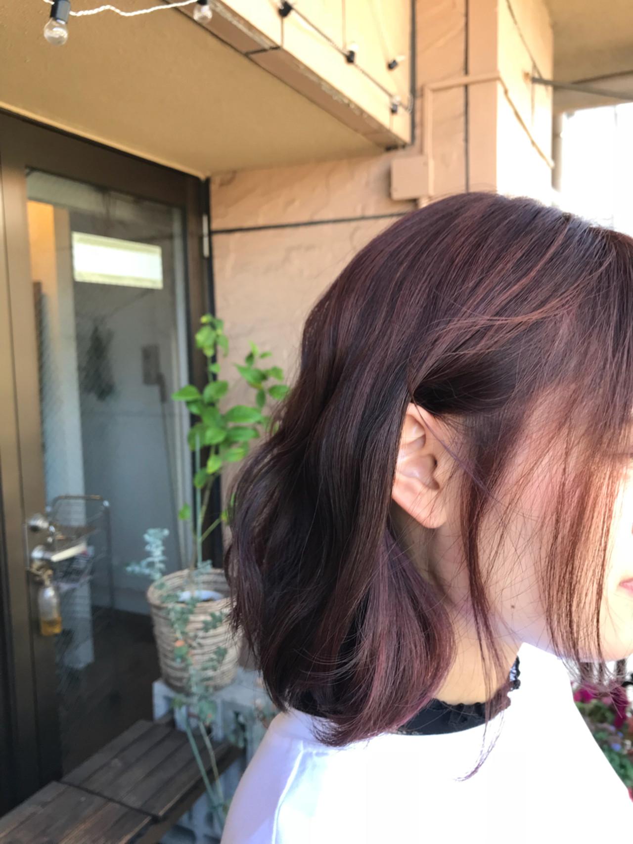 ボブ ナチュラル 透明感 ピンク ヘアスタイルや髪型の写真・画像