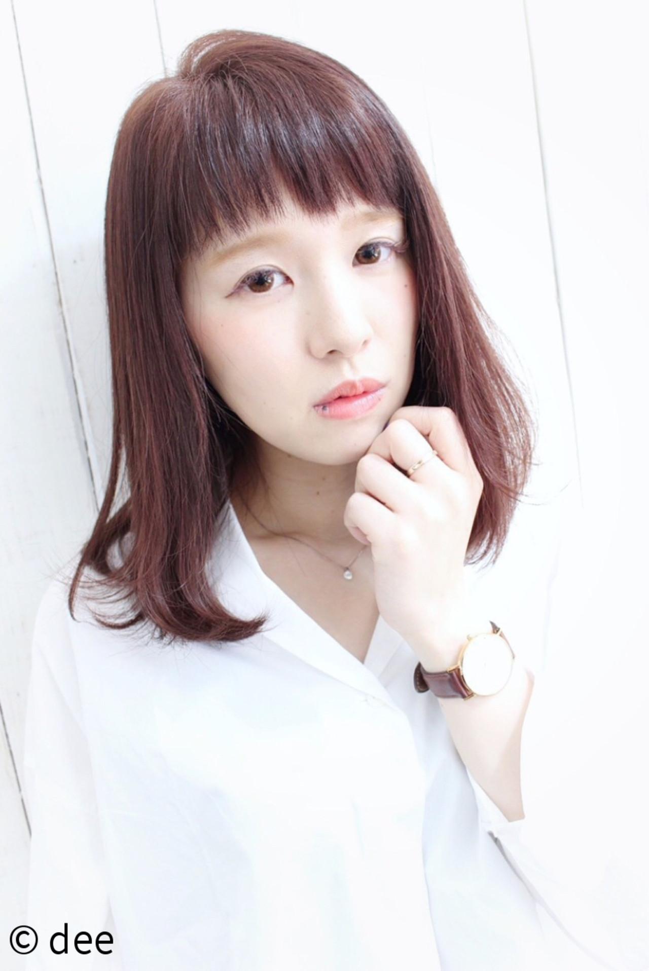 ミディアム ピンク ナチュラル ロブ ヘアスタイルや髪型の写真・画像