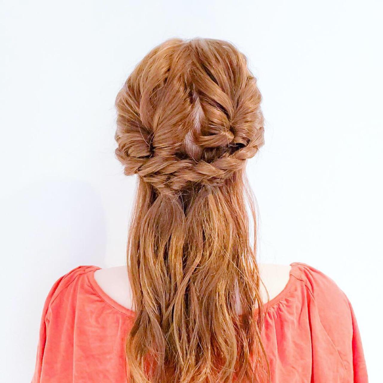 フェミニン ロング 簡単ヘアアレンジ くるりんぱ ヘアスタイルや髪型の写真・画像