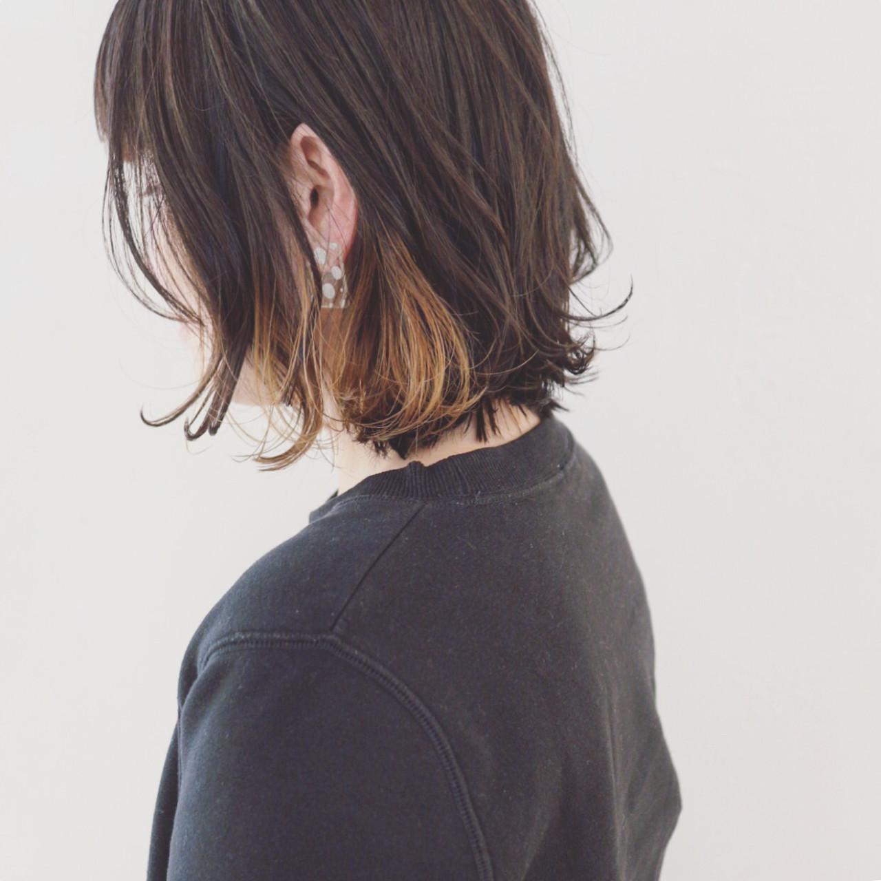 インナーカラー 黒髪 ストリート ボブ ヘアスタイルや髪型の写真・画像 | 三好 佳奈美 / Baco.(バコ)