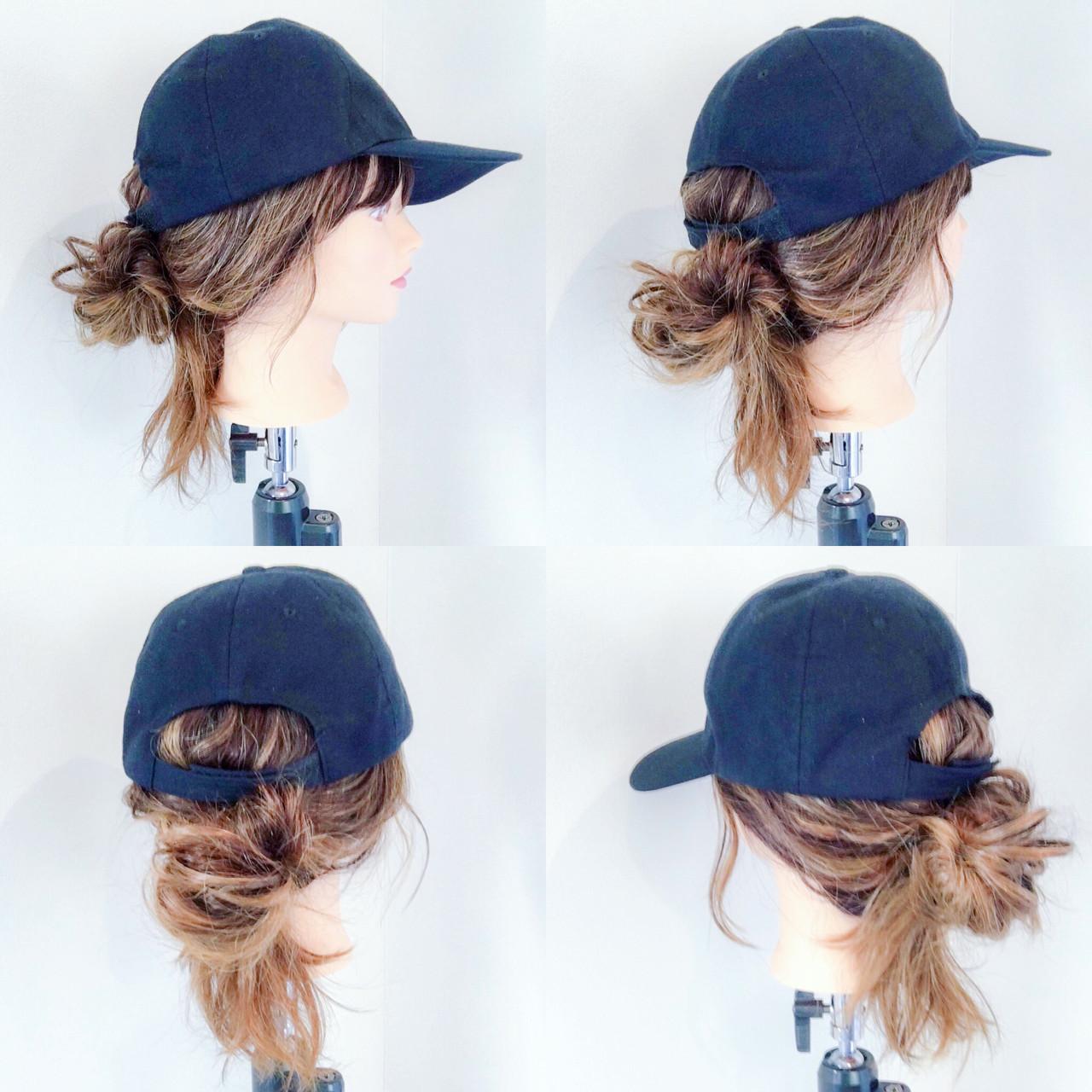 セミロング キャップ ポニーテール アウトドア ヘアスタイルや髪型の写真・画像