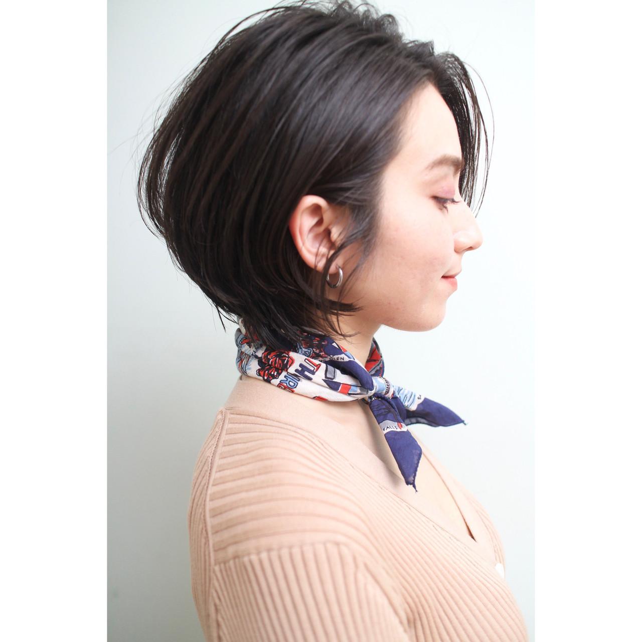 ショートボブ ショート モテボブ 前下がりショート ヘアスタイルや髪型の写真・画像 | 市田莉子 / BEAUTRIUM265