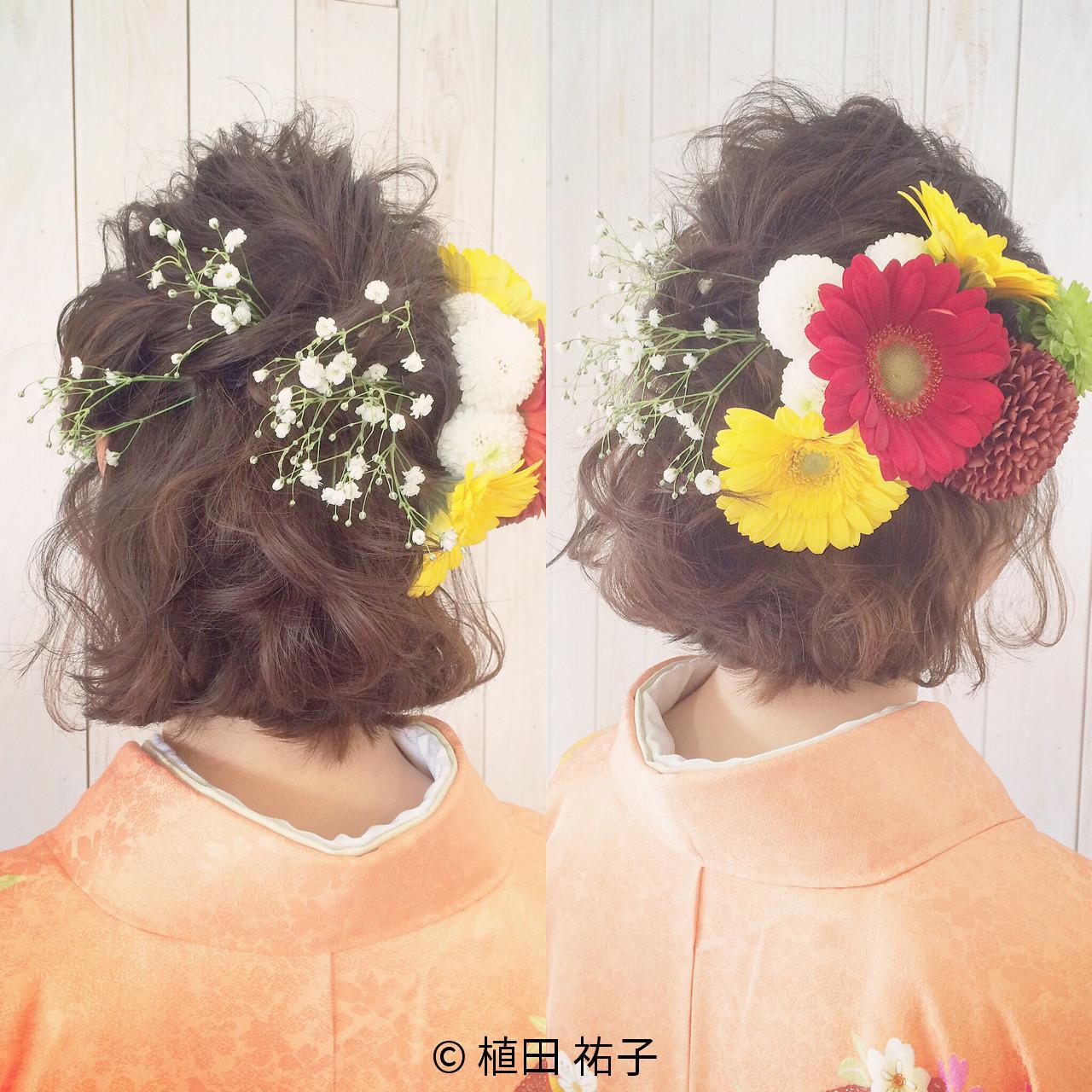 ボブ 着物 ヘアアレンジ 簡単ヘアアレンジ ヘアスタイルや髪型の写真・画像