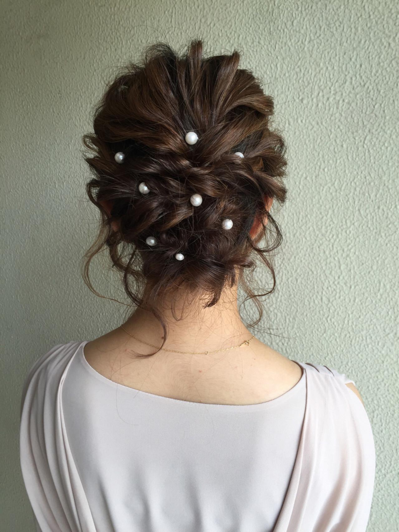 セミロング 二次会 ゆるふわ 結婚式 ヘアスタイルや髪型の写真・画像