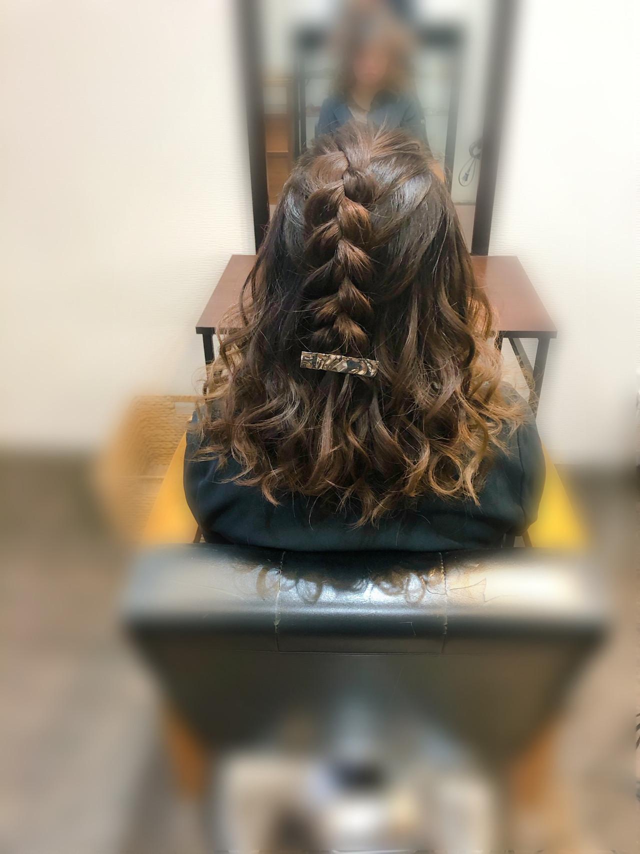 ヘアセット フェミニン 編み込みヘア 編み込み ヘアスタイルや髪型の写真・画像 | mai / HAIR SALON STELLA