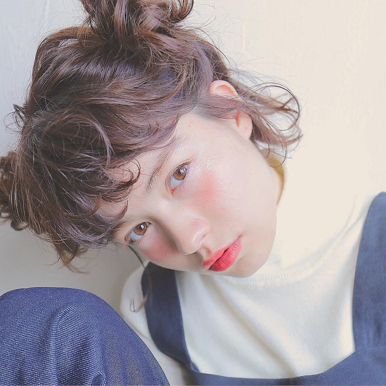 ヘアアレンジ ブラウン 外国人風 ボブ ヘアスタイルや髪型の写真・画像