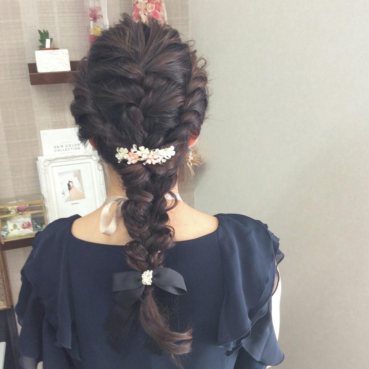 ロング ナチュラル 編み込み 結婚式 ヘアスタイルや髪型の写真・画像 | rumiLINKS美容室 / リンクス美容室