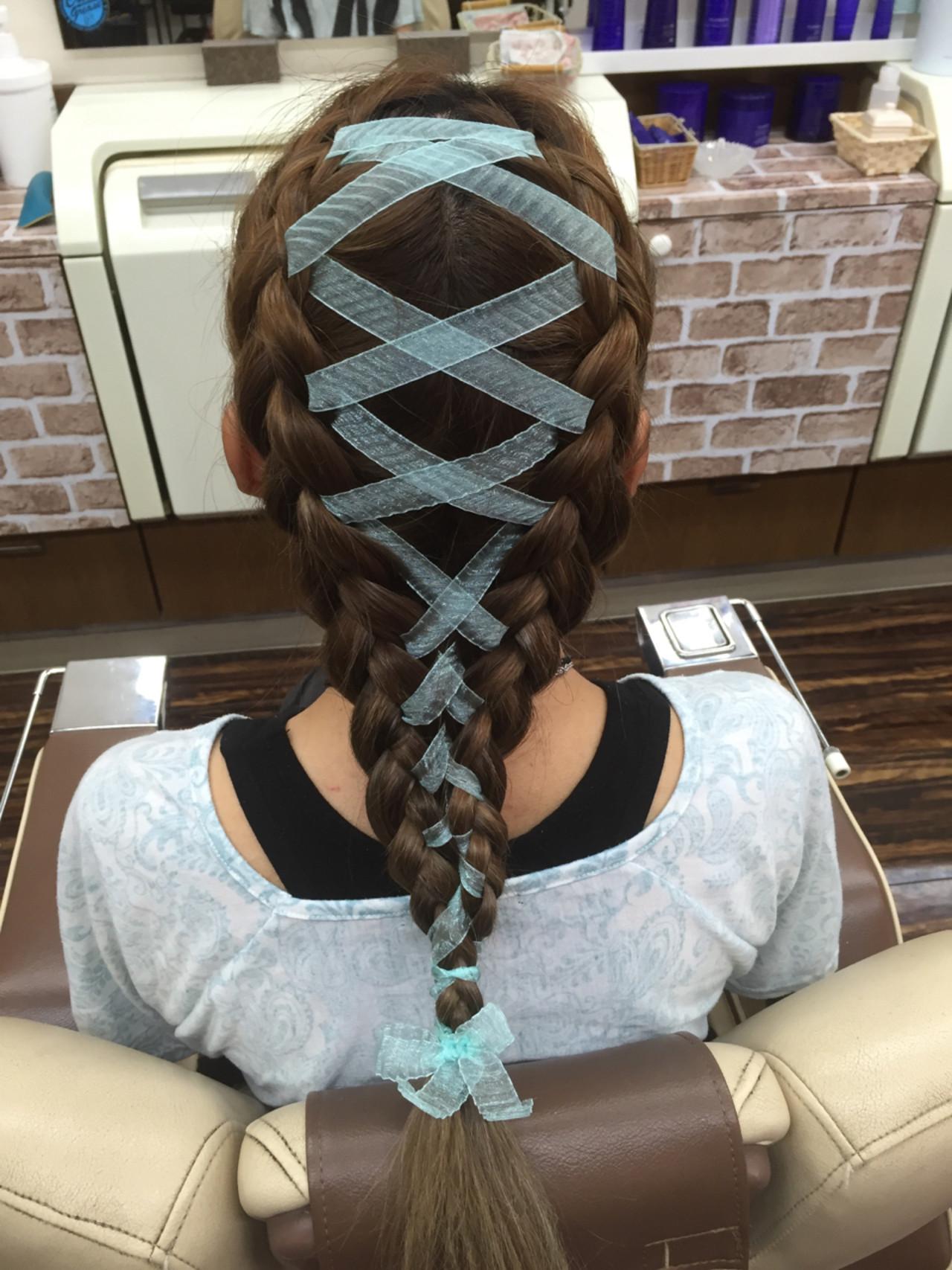 ツインテール 編み込み ガーリー ショート ヘアスタイルや髪型の写真・画像