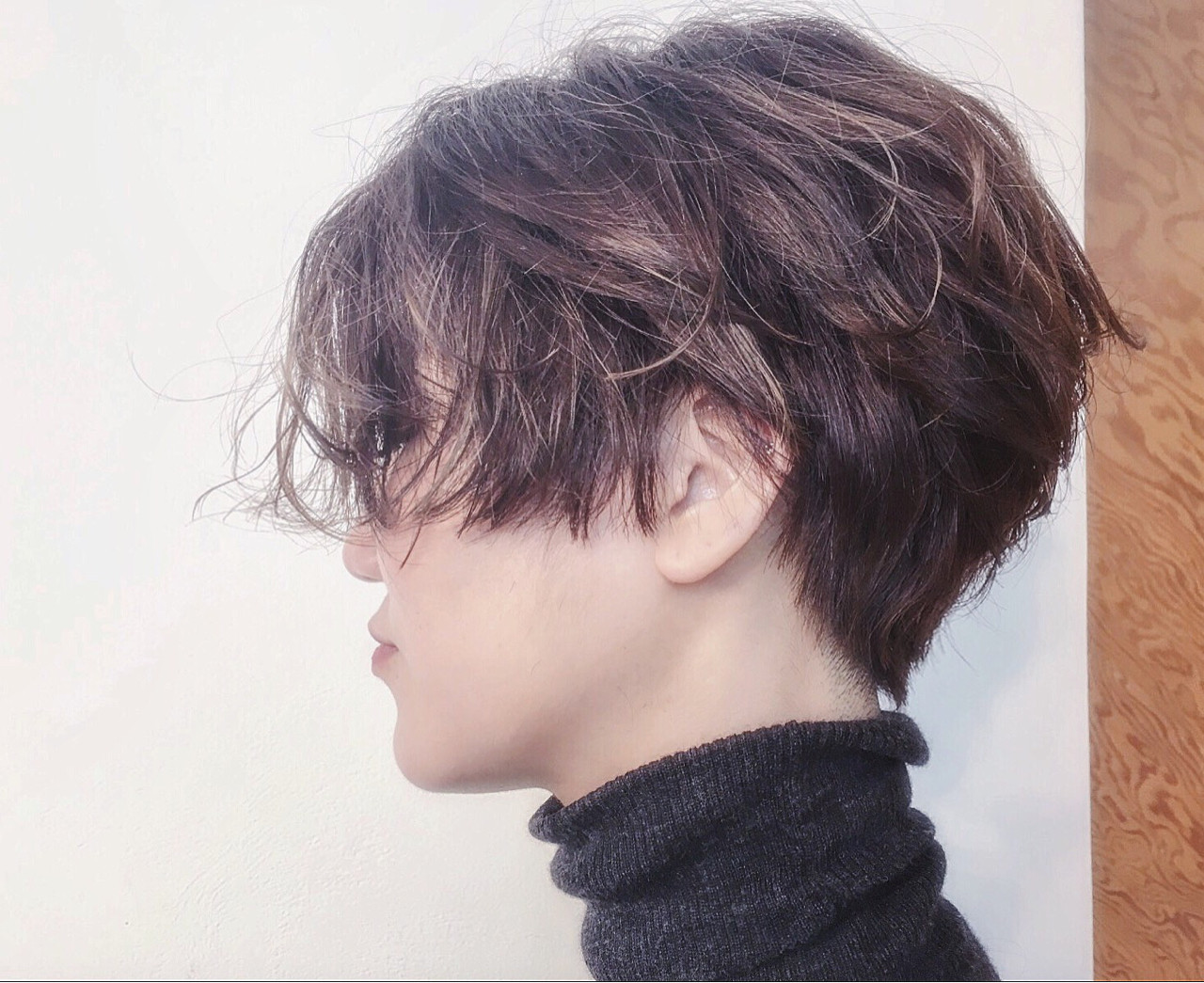 くせ毛風 耳かけ ナチュラル ショート ヘアスタイルや髪型の写真・画像