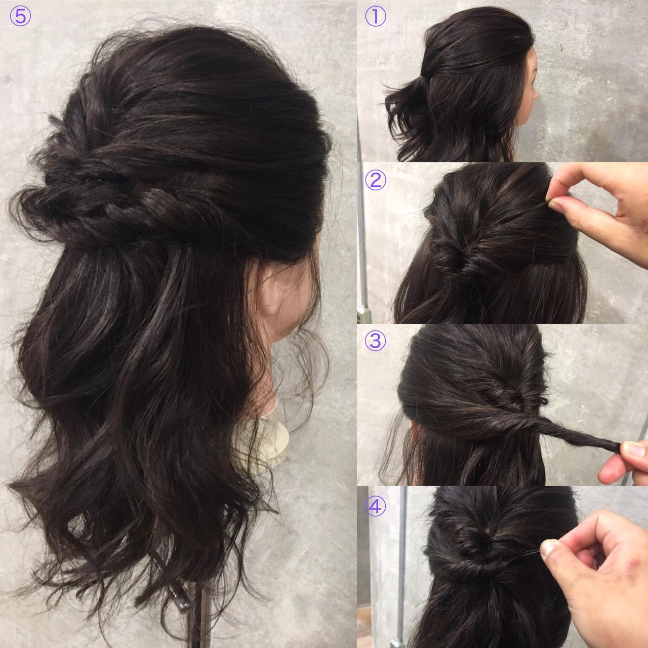 セミロング ヘアアレンジ 暗髪 簡単ヘアアレンジ ヘアスタイルや髪型の写真・画像   Ayaco / One day