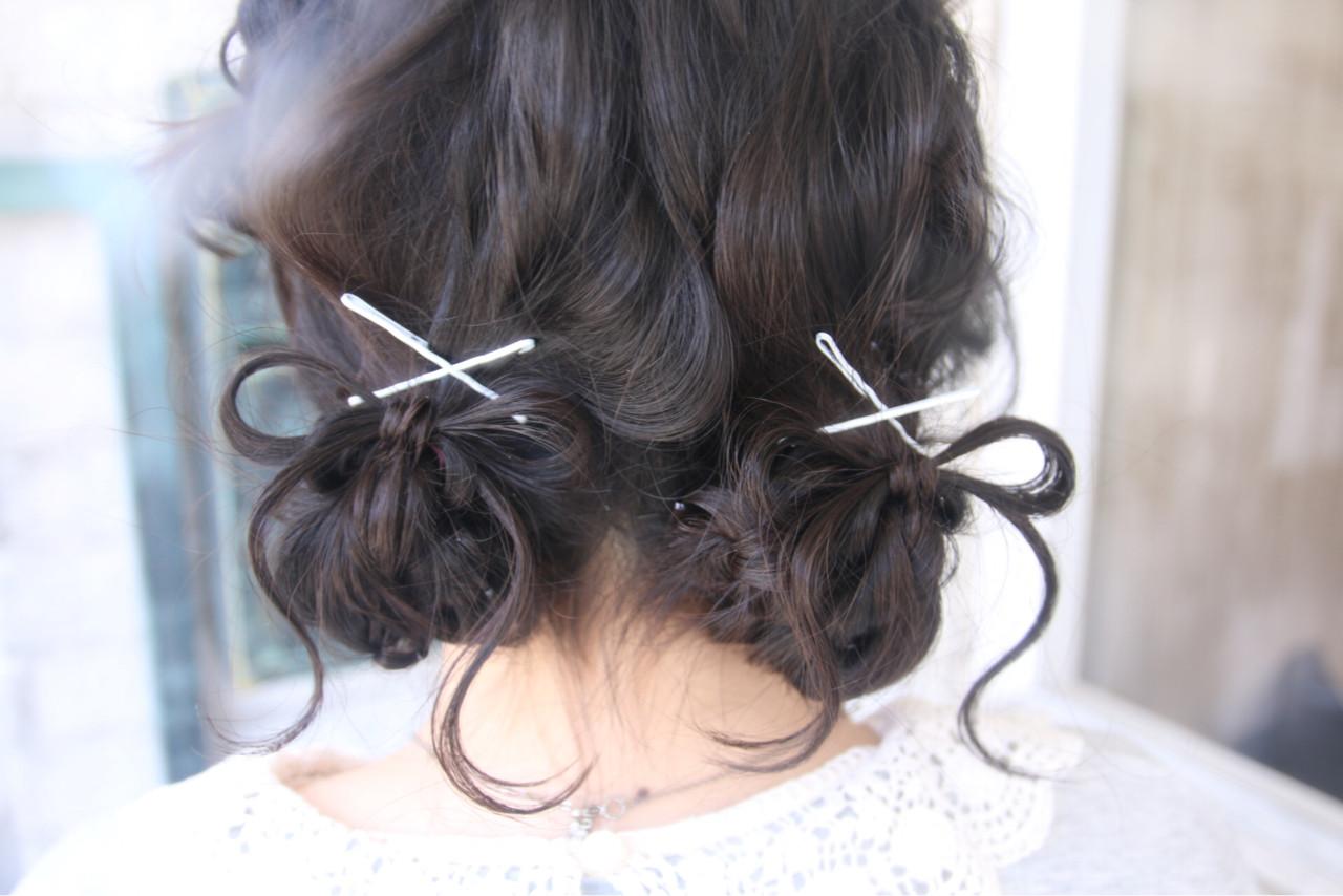 ヘアアレンジ ガーリー セミロング パーティ ヘアスタイルや髪型の写真・画像