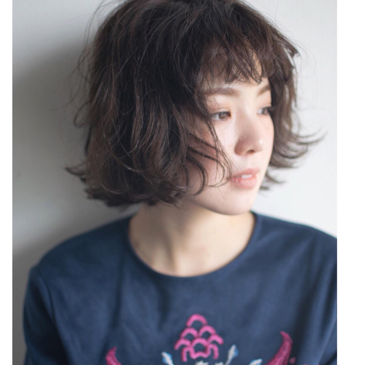 モード ゆるふわ ボブ パーマ ヘアスタイルや髪型の写真・画像