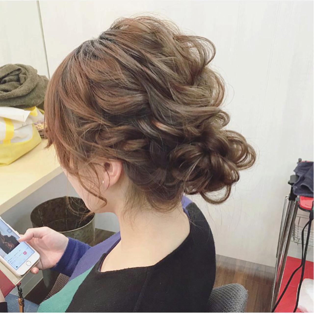 ガーリー ミディアム ヘアアレンジ 結婚式 ヘアスタイルや髪型の写真・画像