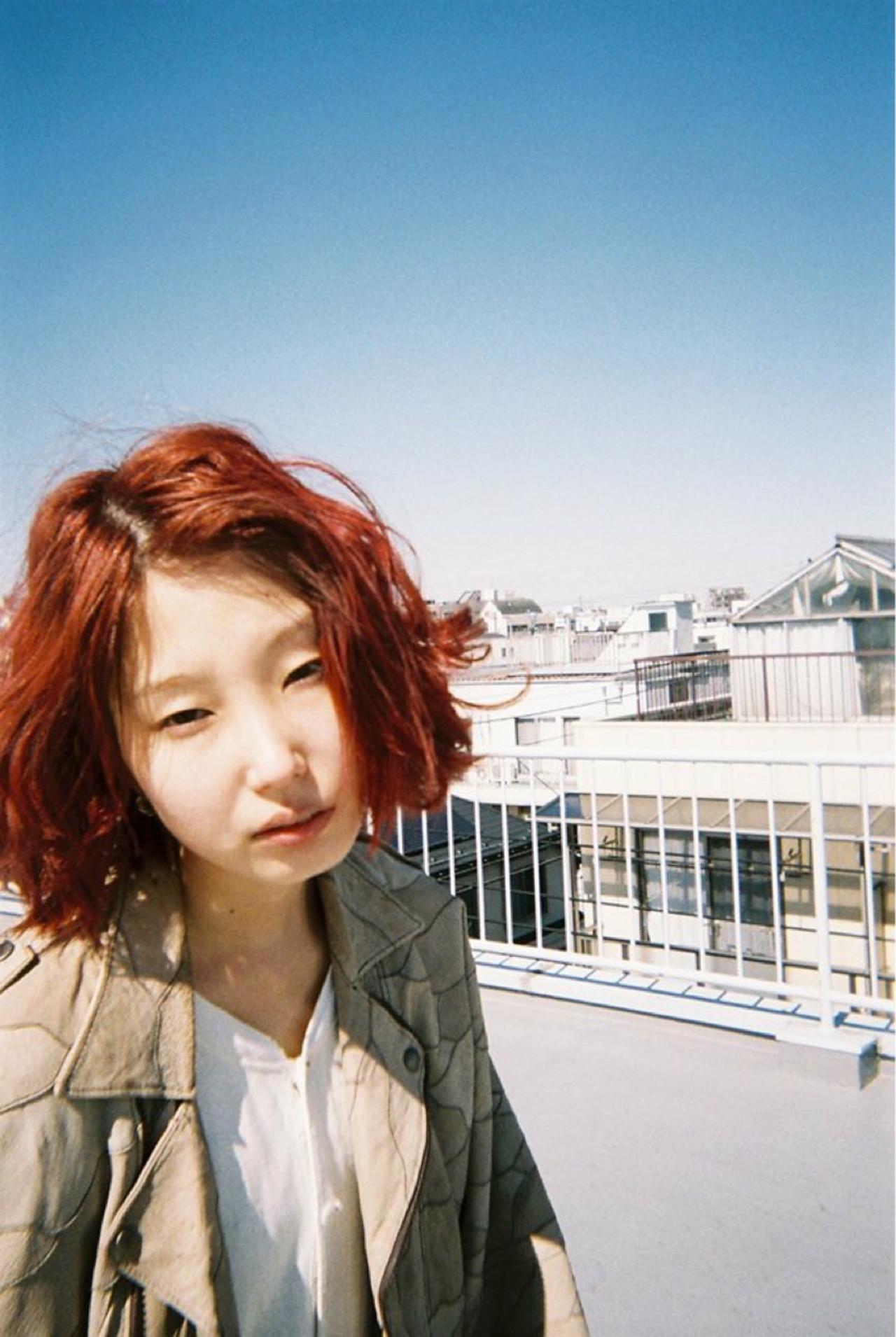 ボブ レッド グラデーションカラー パーマ ヘアスタイルや髪型の写真・画像 | 見藤 恭介 / SORA 学芸大学