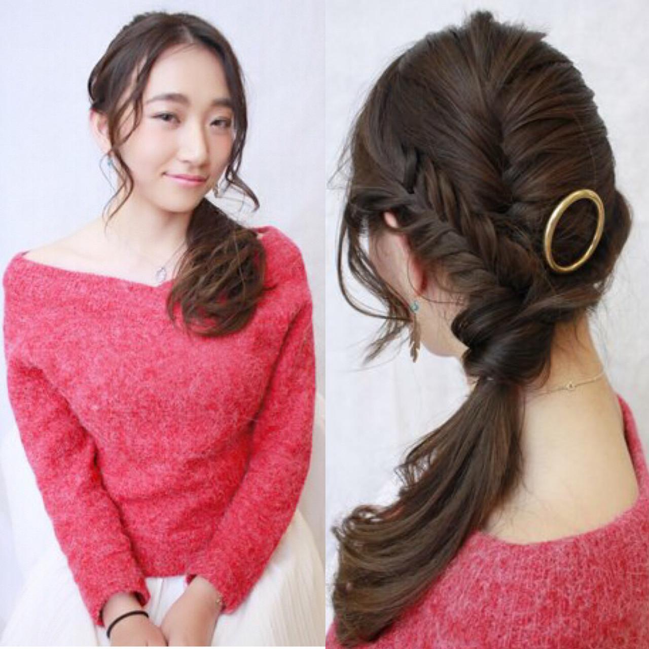 ロング ヘアアレンジ ローポニーテール 簡単ヘアアレンジ ヘアスタイルや髪型の写真・画像
