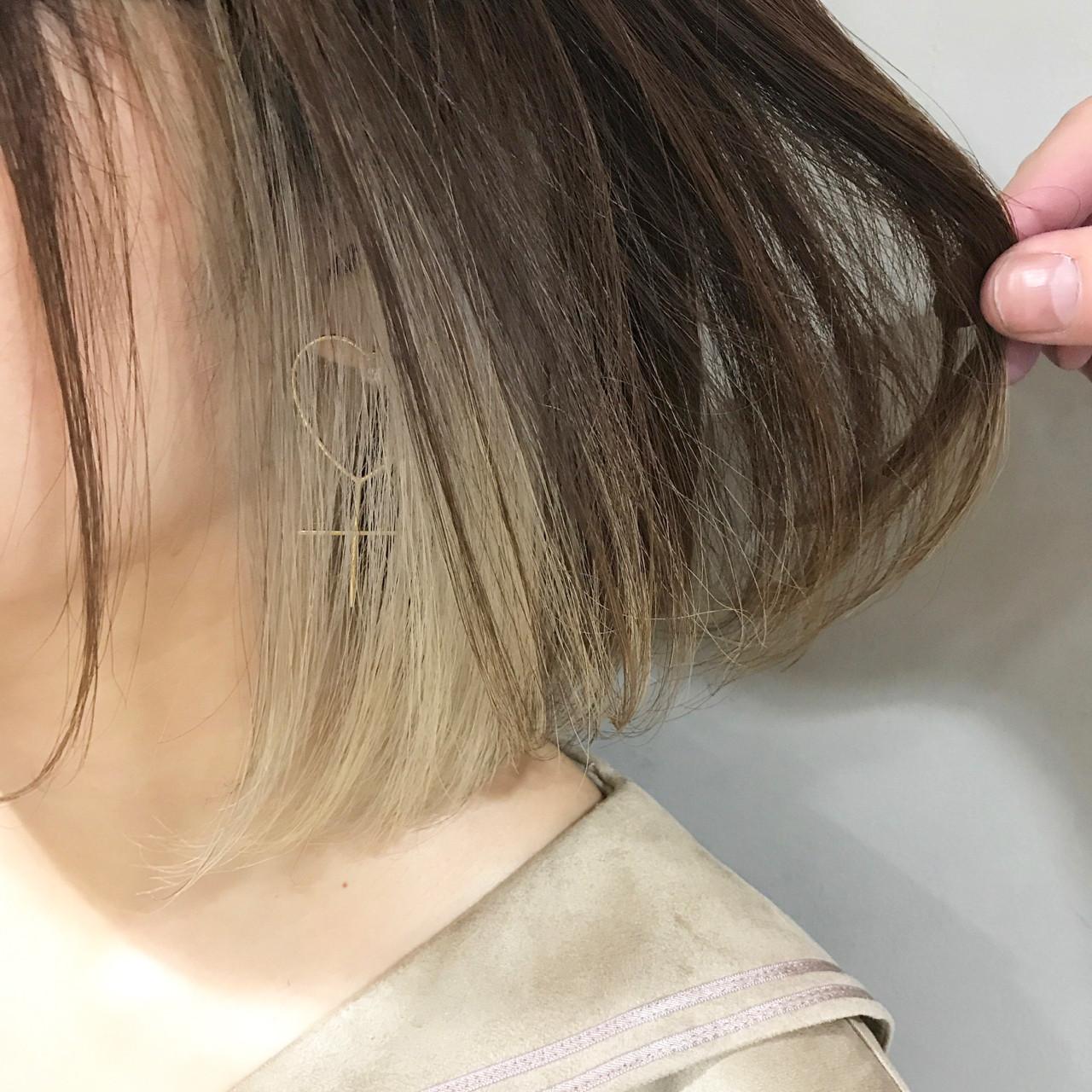 ナチュラル ワンレングス ワンカール インナーカラー ヘアスタイルや髪型の写真・画像   miya/@1031miya / フリーランス(XENA)