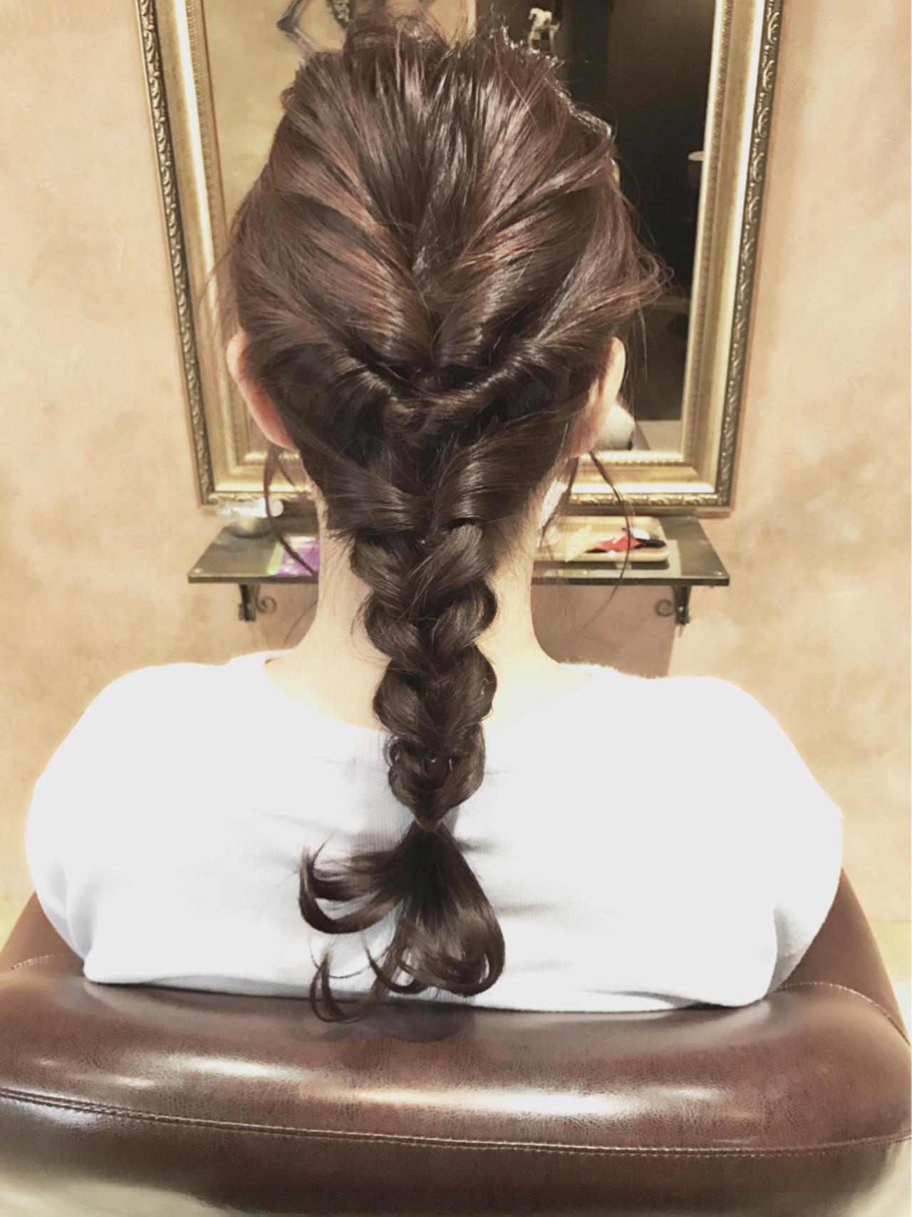 くるりんぱ ミディアム 簡単ヘアアレンジ ミルクティー ヘアスタイルや髪型の写真・画像