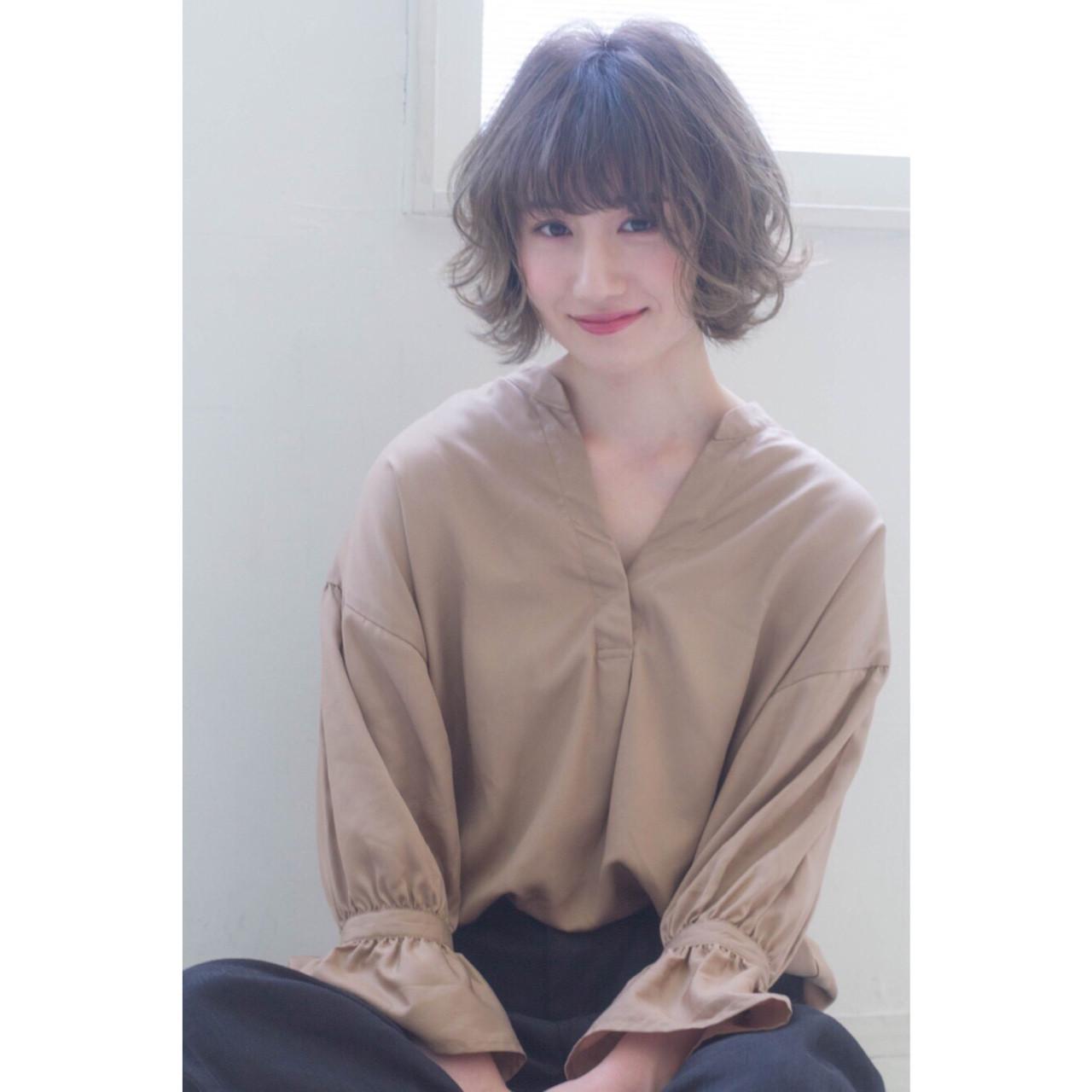 透明感 ナチュラル フェミニン ショートボブ ヘアスタイルや髪型の写真・画像