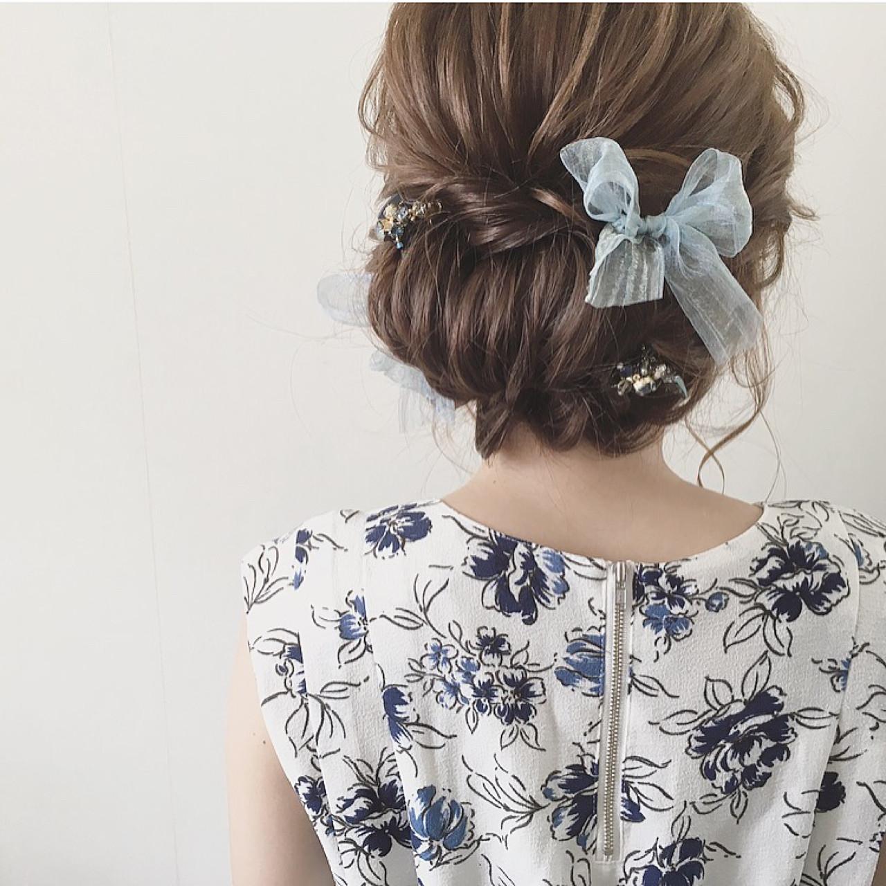 ガーリー 結婚式 ミディアム 大人かわいい ヘアスタイルや髪型の写真・画像