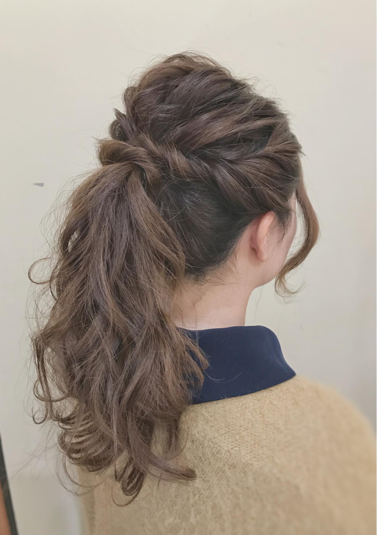 ナチュラル ポニーテール ロング 簡単 ヘアスタイルや髪型の写真・画像