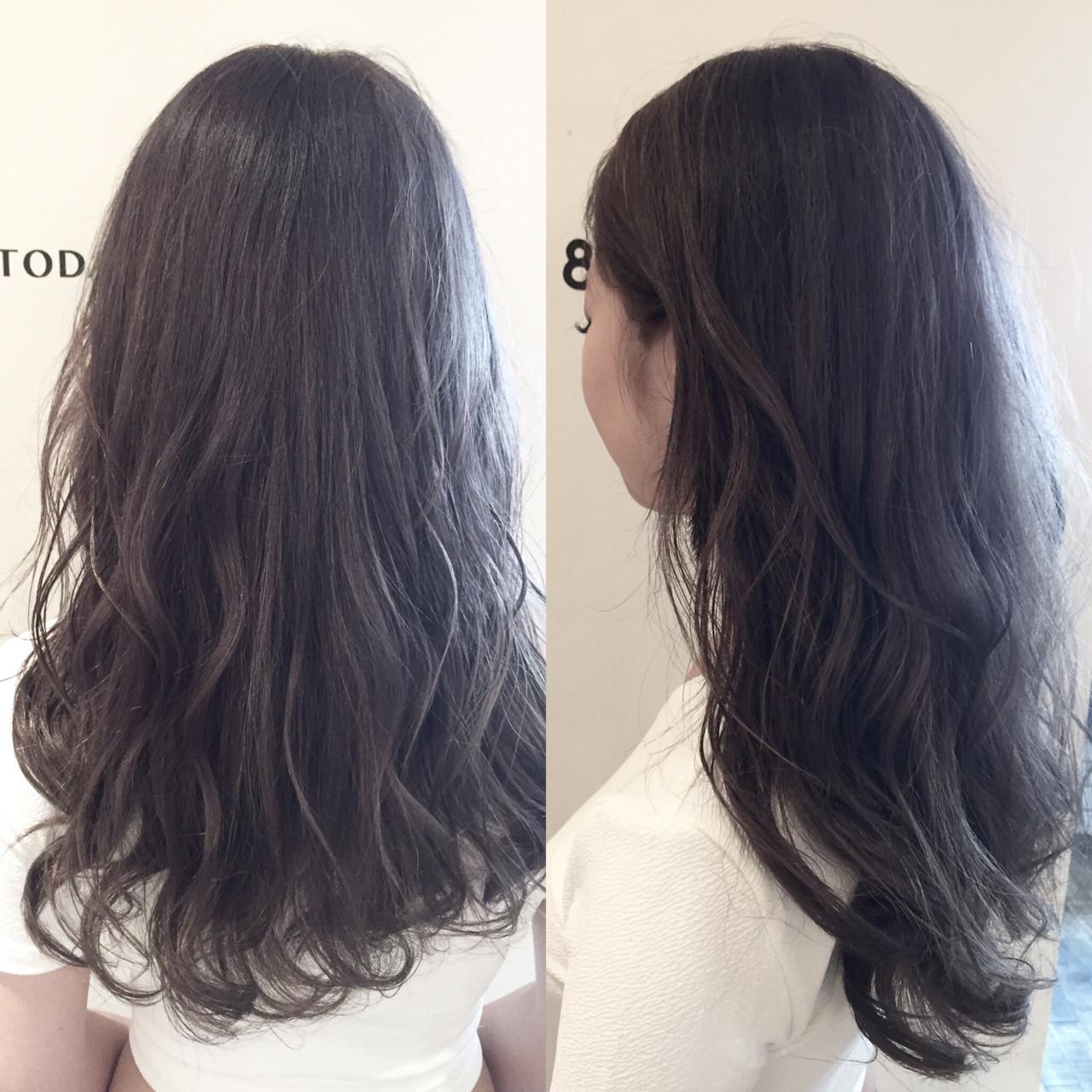 ロング ラベンダーアッシュ 外国人風 グレー ヘアスタイルや髪型の写真・画像 | ナベ / EIGHT hair salon