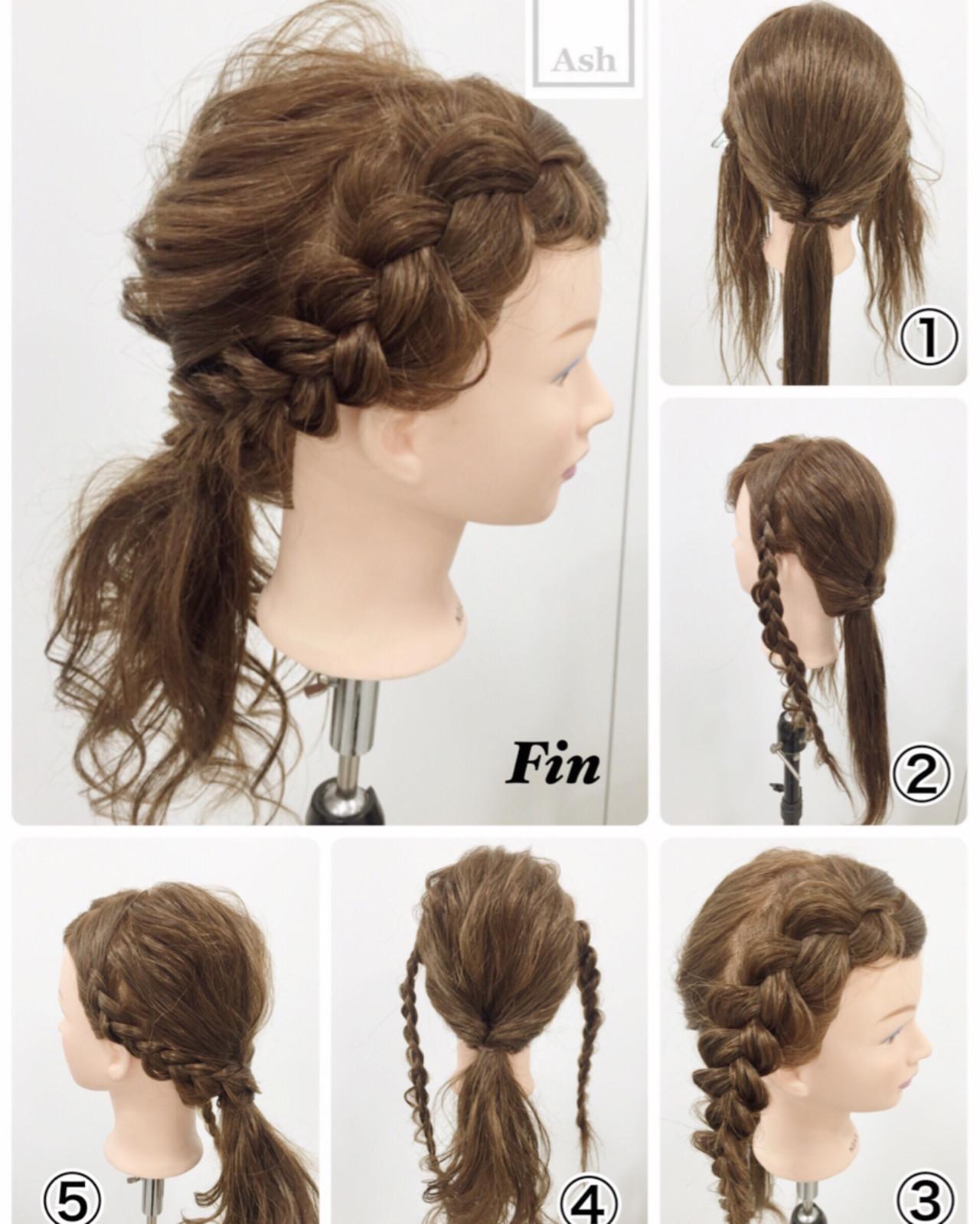 ハーフアップ ヘアアレンジ アッシュ ショート ヘアスタイルや髪型の写真・画像