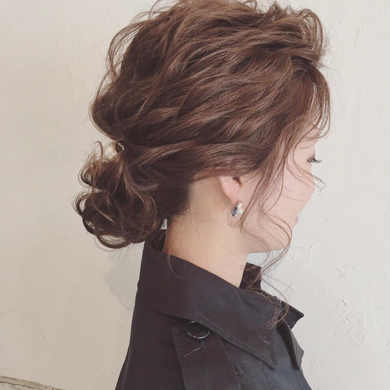 ゆるふわ 大人かわいい アップスタイル ミディアム ヘアスタイルや髪型の写真・画像 | ange maco / ange