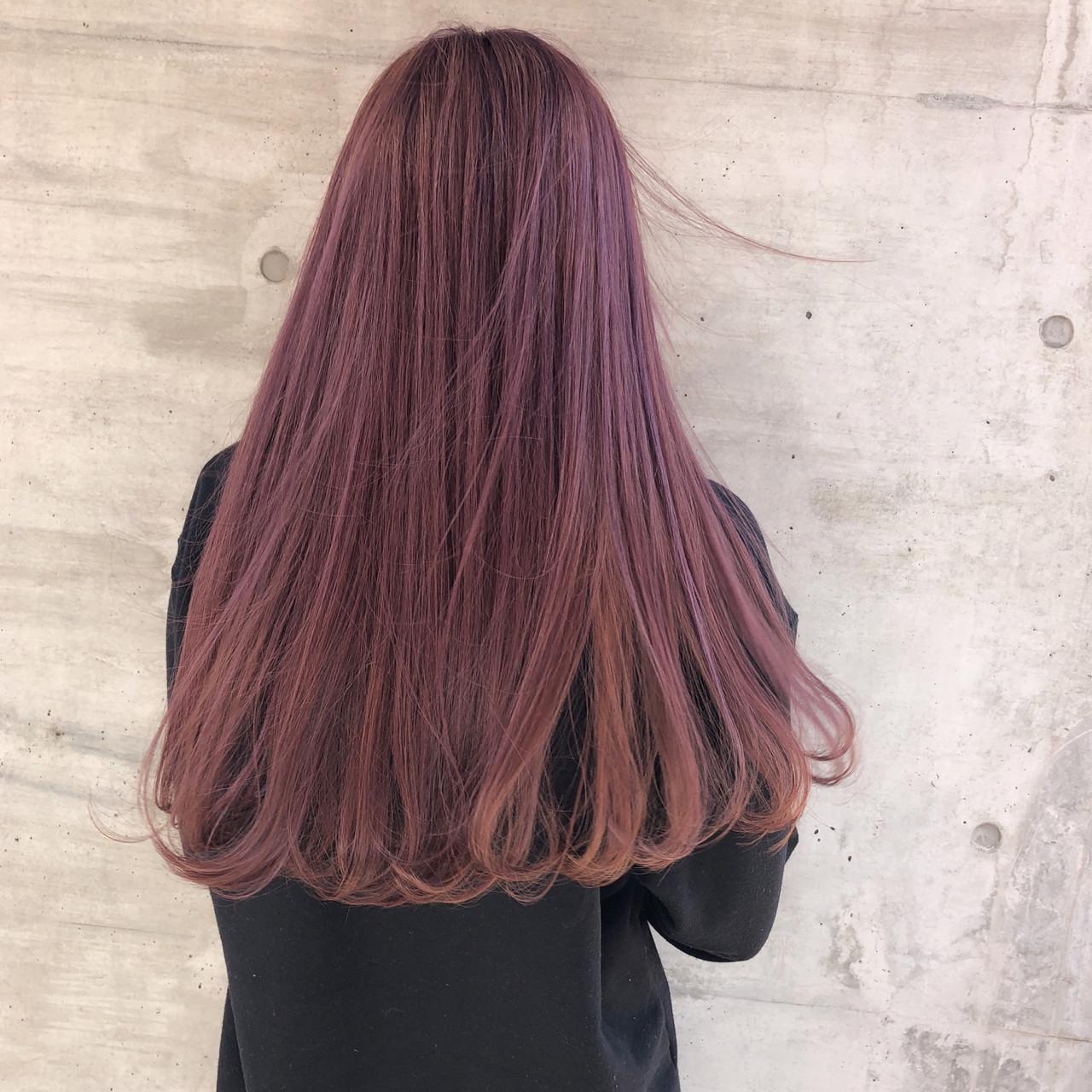 透明感 ピンク ピンクアッシュ グラデーションカラー ヘアスタイルや髪型の写真・画像